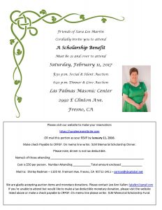 Click here to download a copy of the official invitation to the Sara Lee Martin Memorial Scholarship Fundraiser.